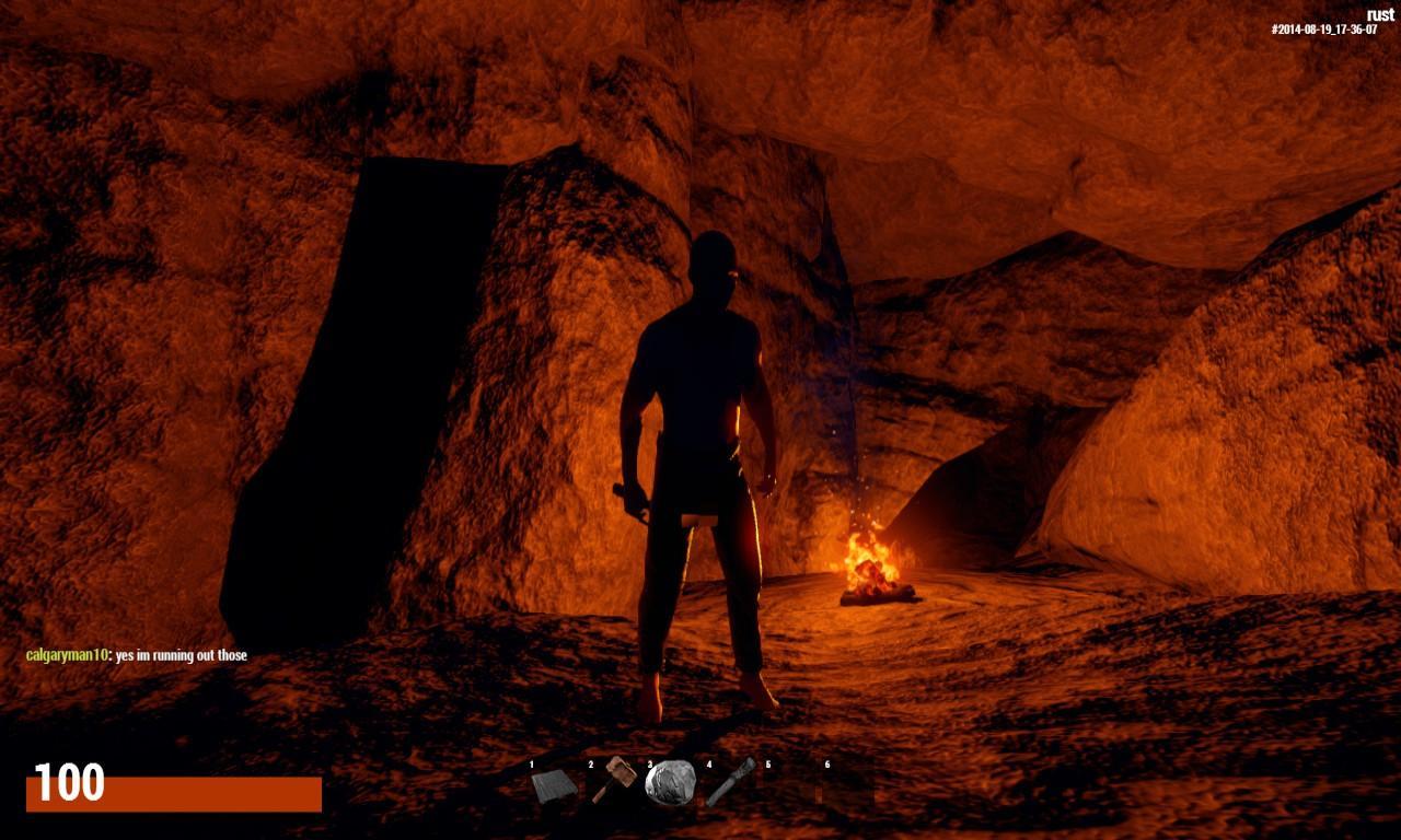 Внутри пещеры Раст с костром уютно