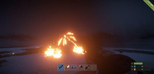 Зажигательная ракета в действии