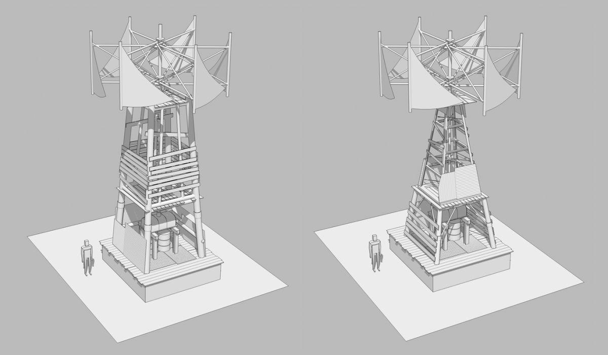 3D эскизы мельниц