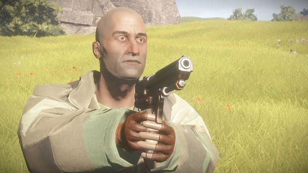 Пистолет в руках спереди