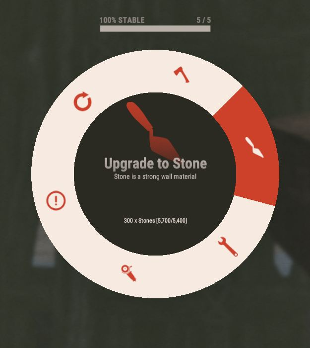 Новое меню апгрейда до камня
