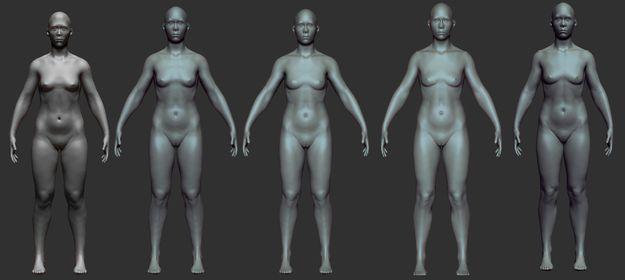 Прогресс женской модели слева направо