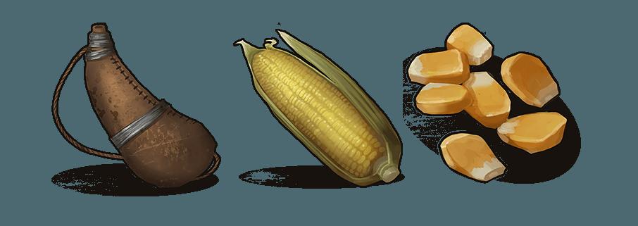 Иконки сумки для воды, кукурузы и её семян